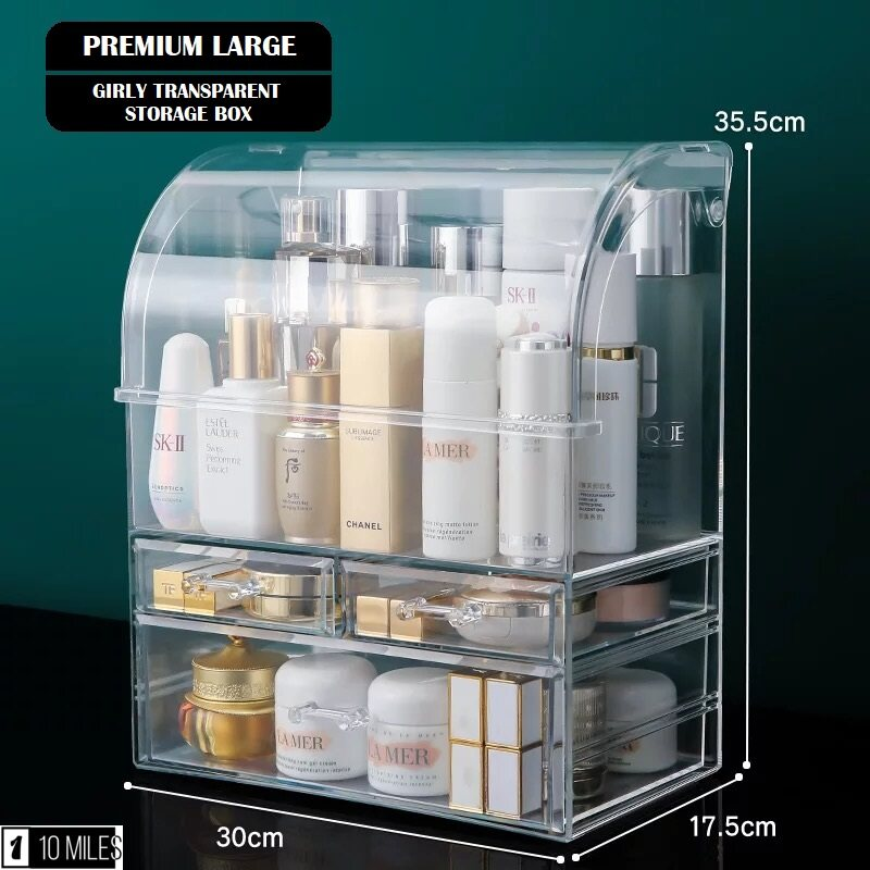 ☑️Korea INS➰Premium Girly Transparent Storage Box With Drawer For Cosmetic Makeup Skincare Jewelry Bottle Organizer Case