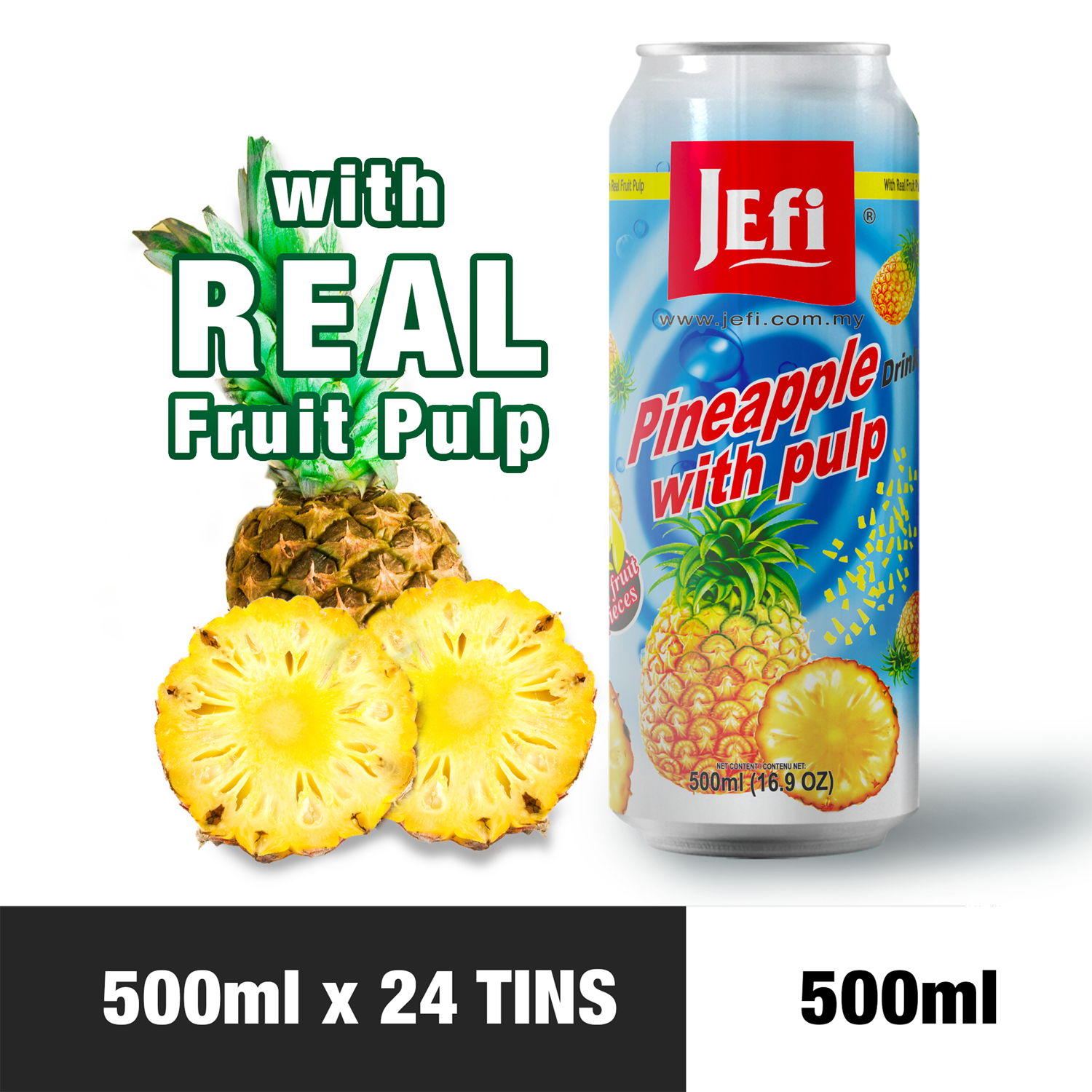 JEFI Pineapple Drink with Real Fruit Pulp (500ml x 24tins)