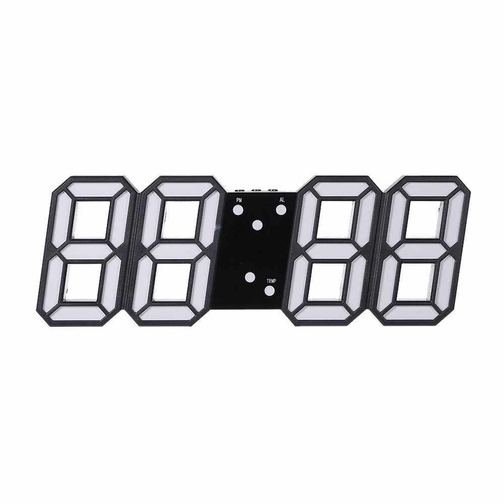 Best Selling 3D LED Digital Clock Glowing Night Mode Brightness Adjustable Electronic Table Clock 24/12 Hour Display Alarm Clock Wall Hanging (Black & Blue)