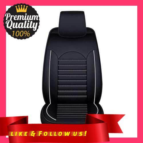 People\'s Choice PU Leather Auto Seat Cover Universal Car Front Seat Car Seat Protector Car Interior Accessories (Black&White)