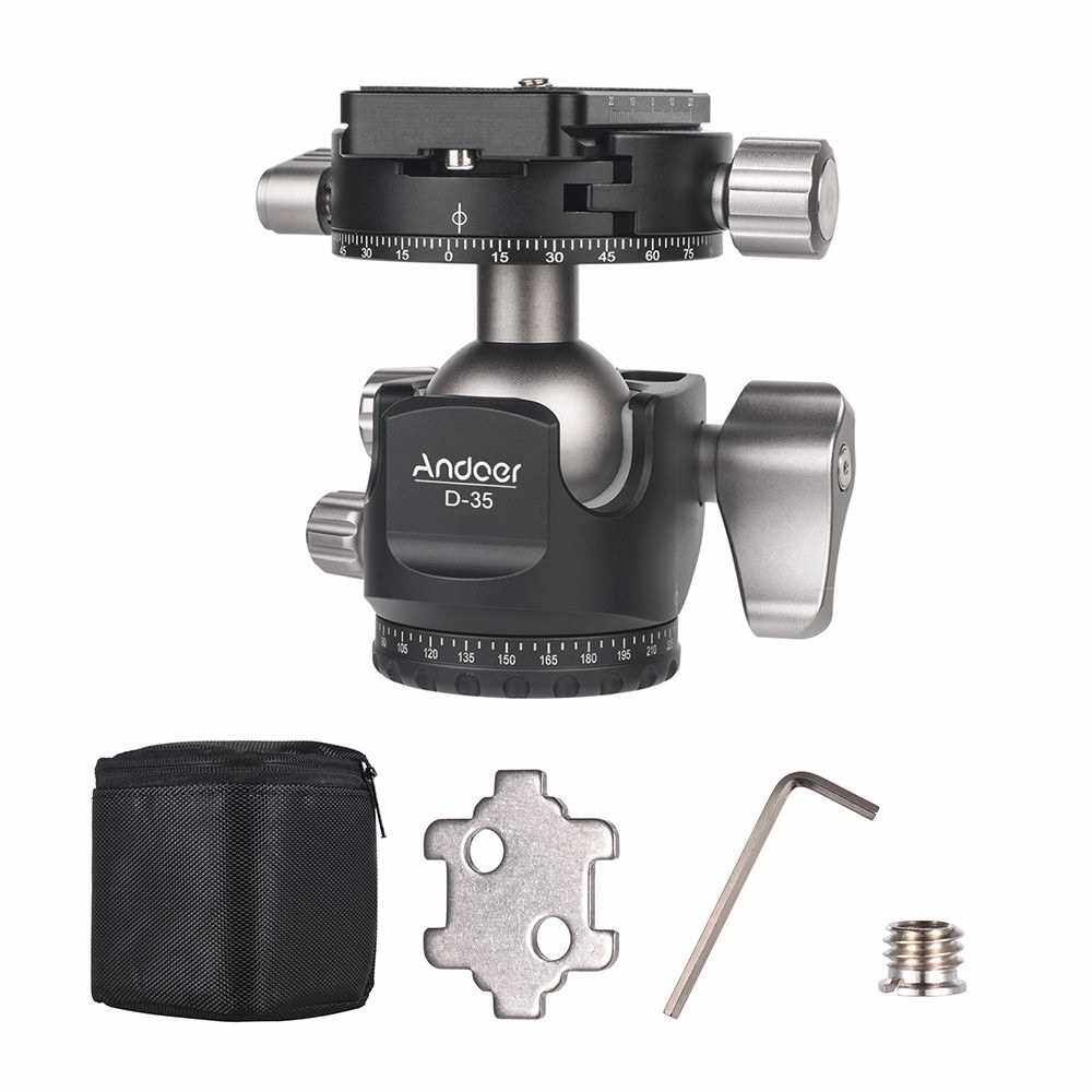 Best Selling Andoer D-35 Low Profile Double Panoramic Head CNC Machining Aluminum Alloy Ball Head Tripod Head Compatible with Canon Nikon Sony DSLR Max. Load 8kg (Standard)