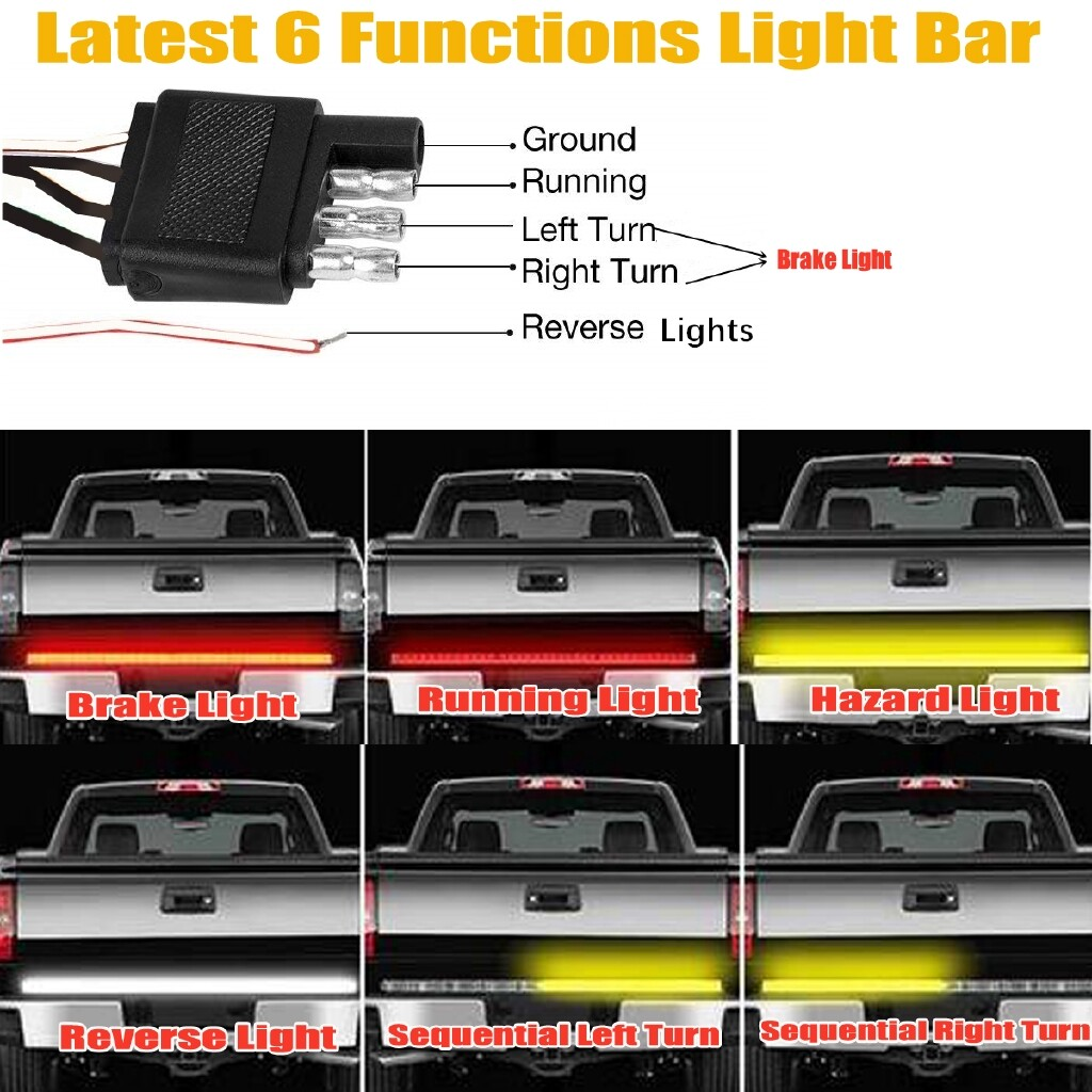 Car Lights - 60'' 3-Row LED Tailgate Reverse Brake Consequential Signal Tail Light Bar Strip - Replacement Parts