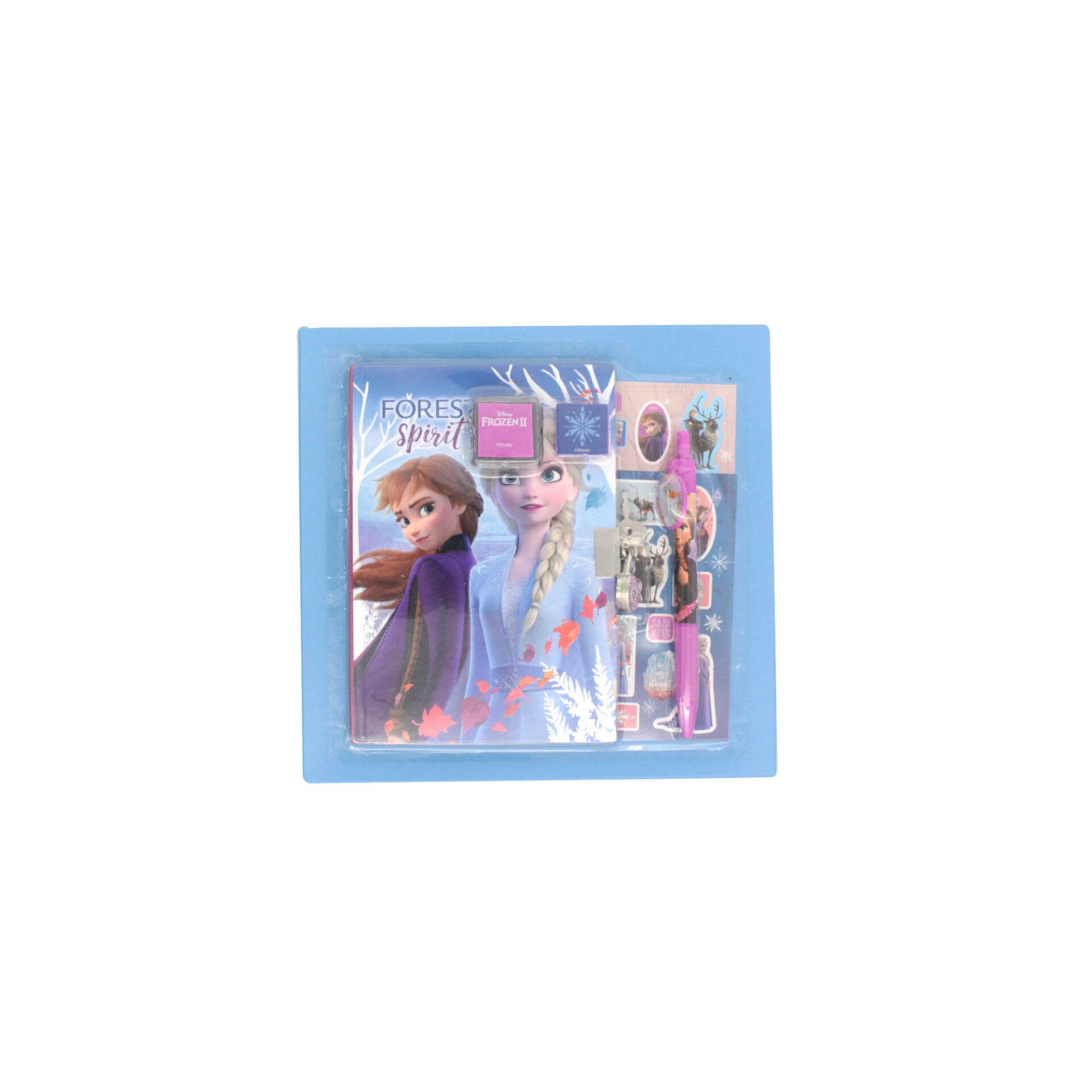 Disney Frozen 2 Princess Elsa & Anna Secret Diary Set With Lock & 2 Keys, Pen, Stamp Pad, Stamper & 2 Sticker Sheets For Girls