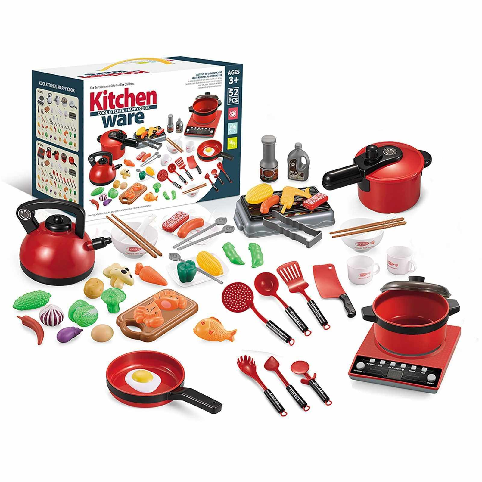 52PCS Kitchen Play Toy Kids Pretend Playset with Cookware Pots and Pans Set Play Food Fruits Cooking Utensils Toy Cutlery Early Educational Toys for Girls Boys Kids (Red)
