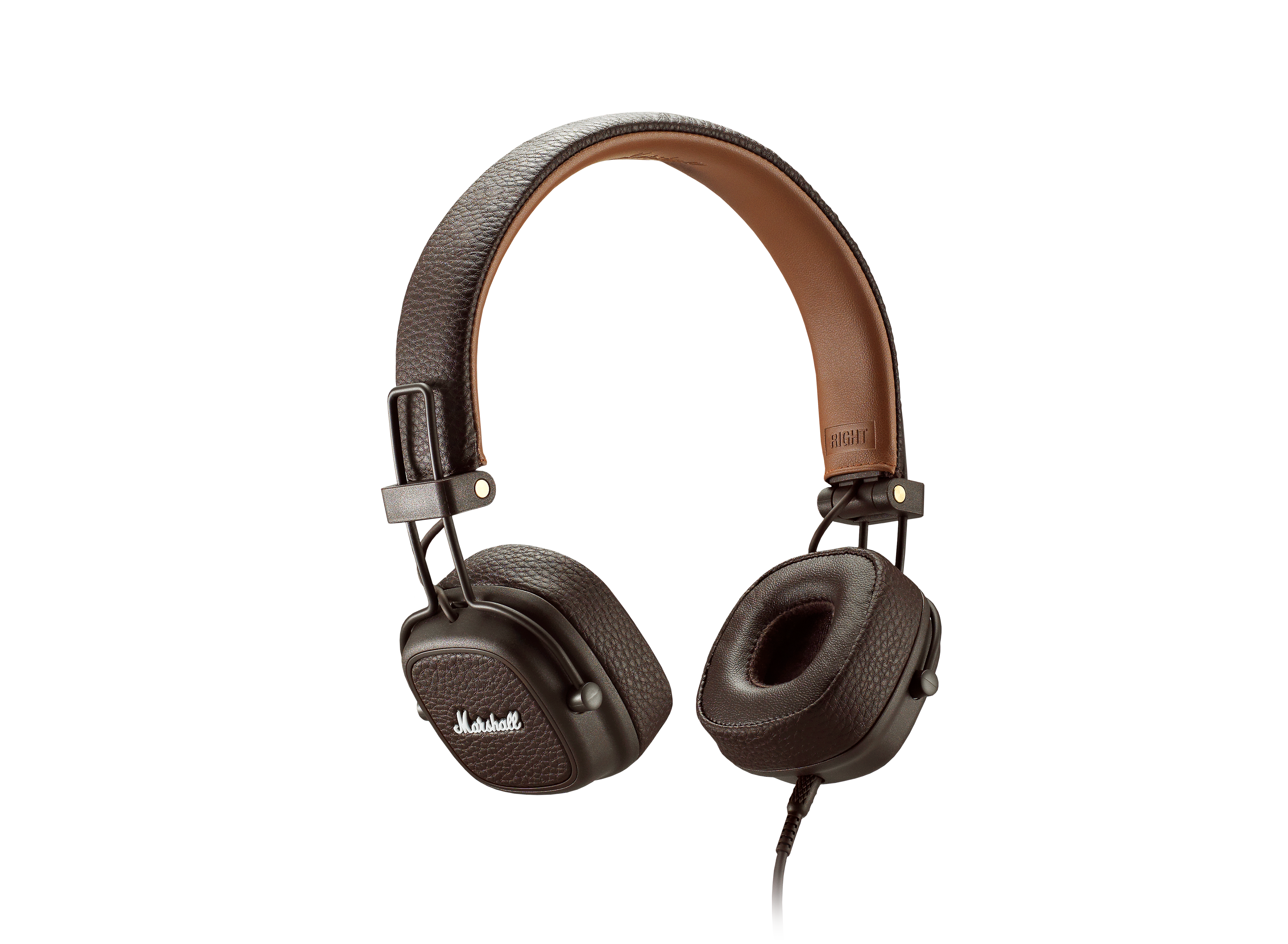 Marshall Major III Headphones (Black / White / Brown) with One Button Remote with Microphone Collapsible Design Ergonomic Fit Detaachable 3.5mm Cord