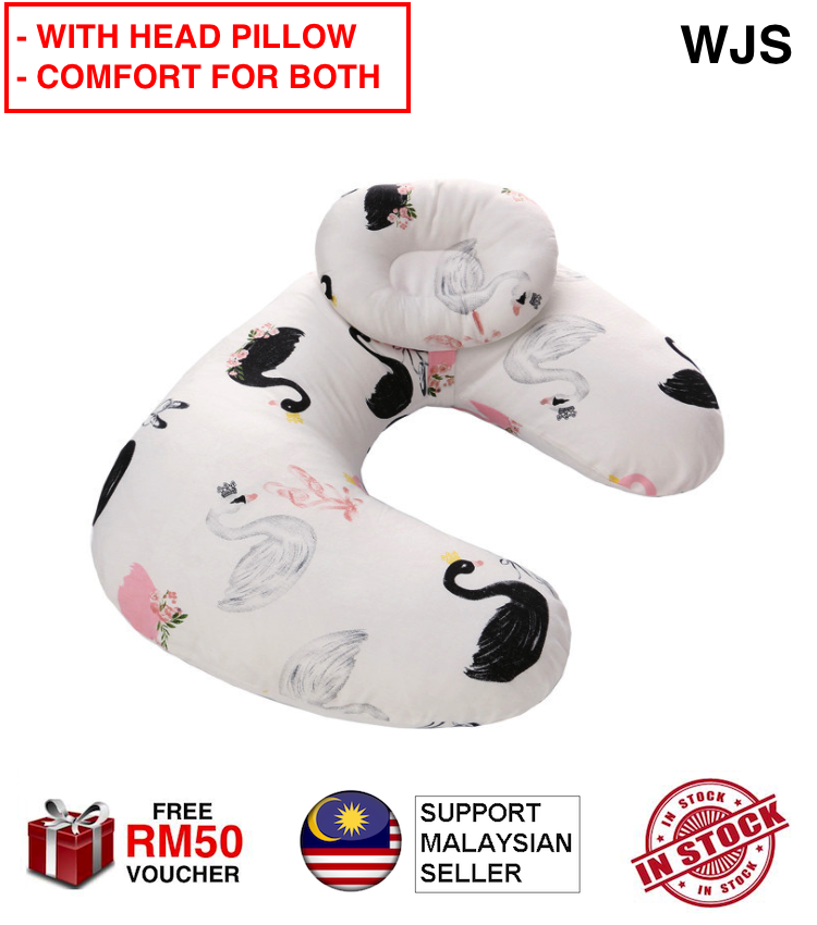 (WITH HEAD PILLOW) WJS 4 in 1 Function Newborn Baby Breastfeed Support Pillow Breastfeeding U-Shaped U Shape Pillow Milk Bottle Pillow Head Rest Maternity Toddler Infant Head Support Pillow MULTIPLE DESIGNS [FREE RM50 VOUCHER]