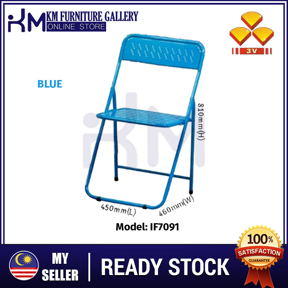 KM Furniture 3V IF706 Metal Foldable Rest Chair/ Dining Chair/ Portable Chair/ Outdoor Chair/ Travel Chair/ Kerusi Lipat Besi/ Kerusi Niaga KMIF706BL