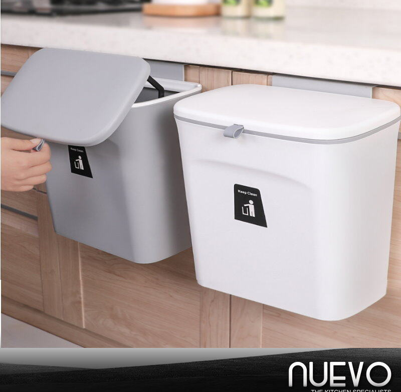 9L Household creative wall-mounted trash can kitchen with lid can be surplus storage tube cabinet door sliding cover