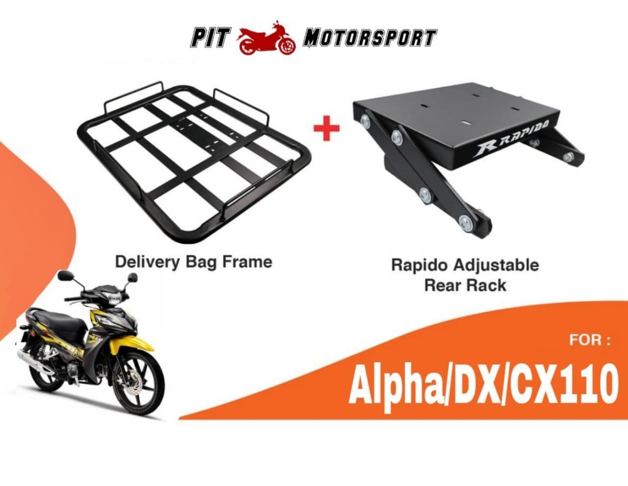 Monorack ALPHA DX110 CX110 RAPIDO Foodpanda Grabfood Heavy Duty With Delivery Bag Frame Tapak Monorack Food panda Grab Honda CX DX