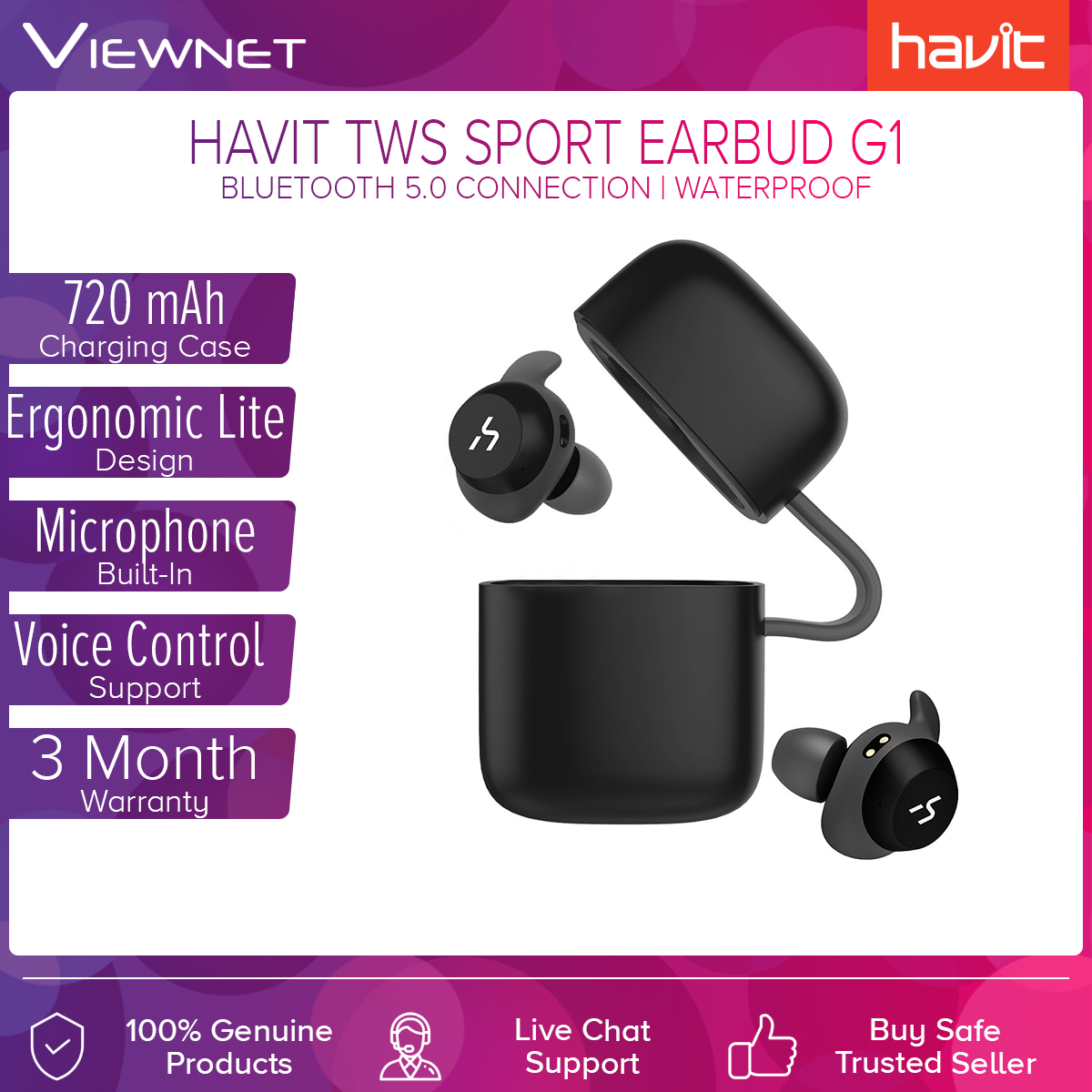 Havit G1 / G1 Pro IPX5 Waterproof TWS True Wireless Sports Bluetooth V5.0 Earphone Stereo Earbuds With 720mAh Charging Case Microphone Voice Control One-key SIRI Features