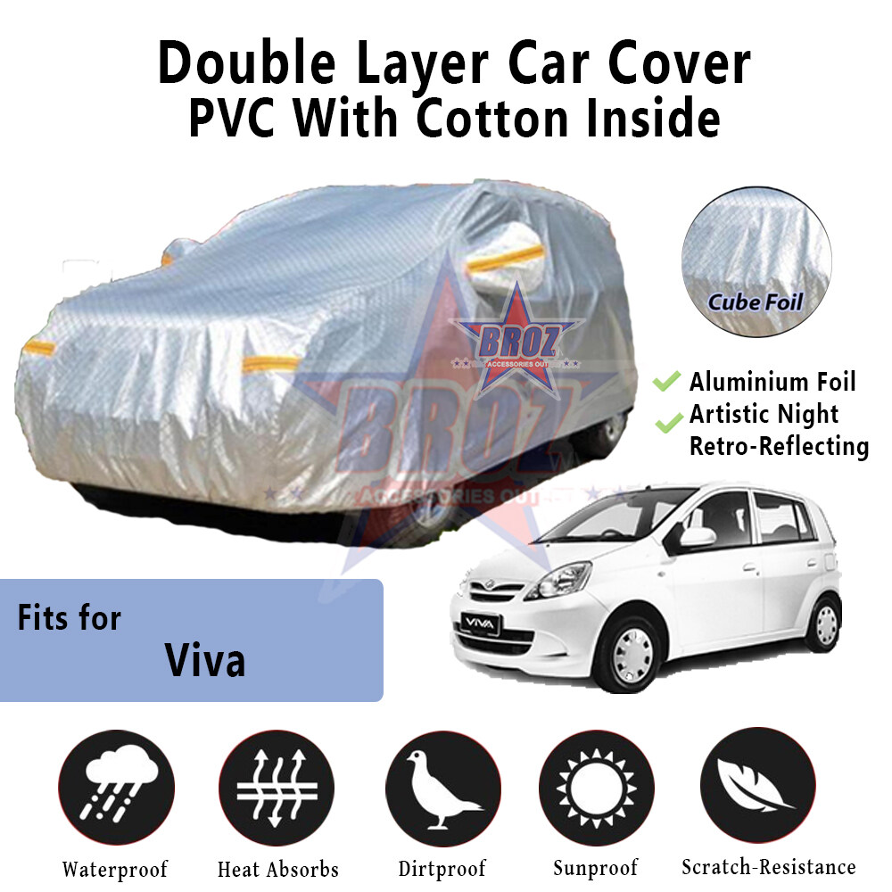 Viva High Quality Durable Anti Scratch Double Layer All Weather PVC Cotton Aluminium Foil Car Body Cover - S Size