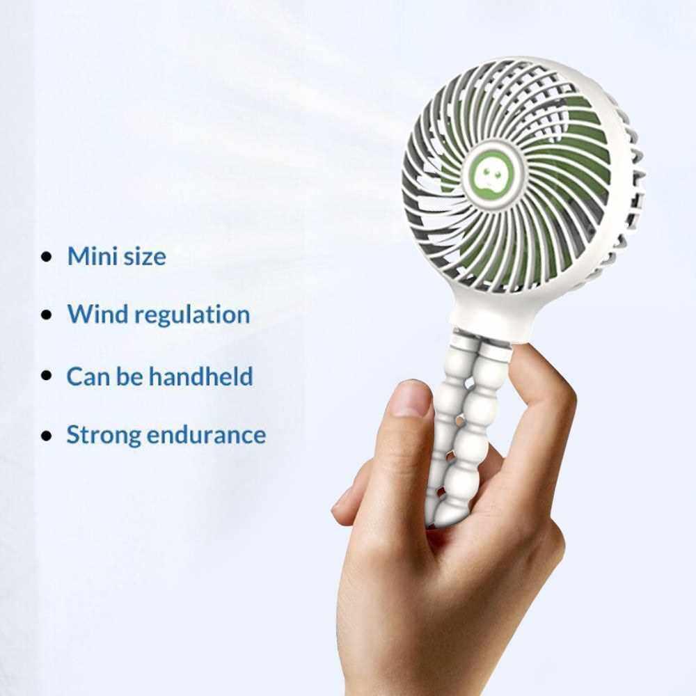 Mini Handheld Stroller Fan Portable Desktop Air Fans with Flexible Tripod 3 Gear Wind Speed Rechargeable Cooling Fan (White)