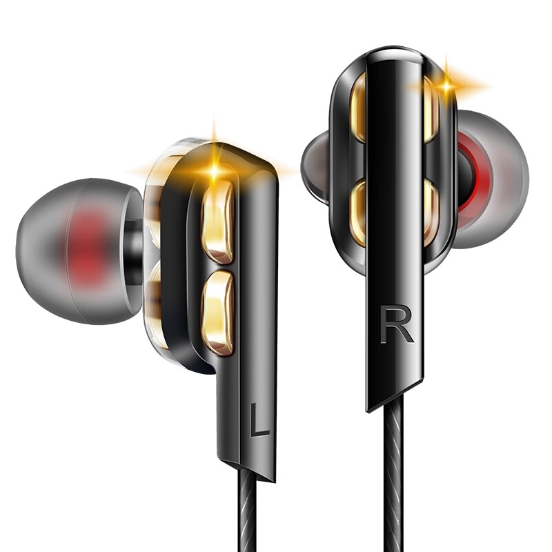 On-Ear Headphones - QKZ AK4 Metal Stereo Dual Dynamic Drivers Wired Earphone Super Bass In-ear Earbuds With Mic for - BLUE / GOLD / GREY / BLACK