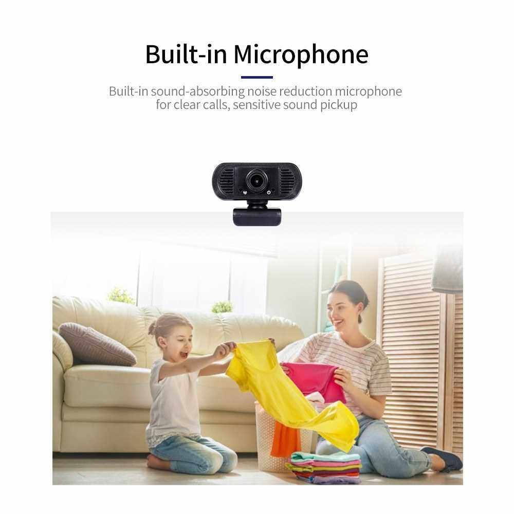 HD 1080P USB Webcam Fixed Focus Web Camera Built-in Microphone Drive-free Computer Camera for Laptop Desktop Black (Standard)