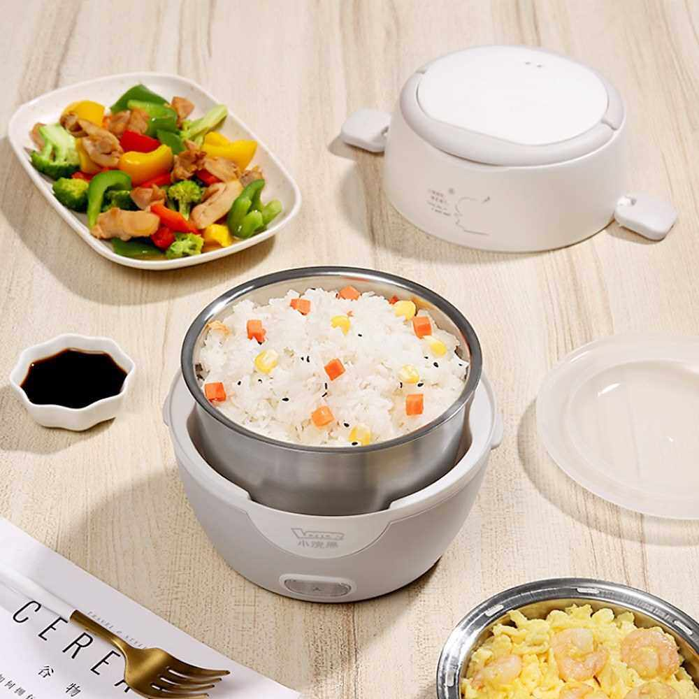 LOTOR Electric Lunch Box Food Heater with Stainless Steel Pot 1.3L Steamer Portable Mini Rice Cooker Multi-function Cooking Steaming Lunch Containers HM-2015 220V (Grey)