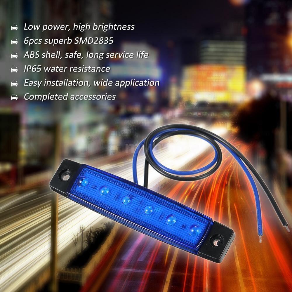 Lighting - DC12V/24V 6 LEDs Side Marker Indicator Light Lamp SMD2835 IP65 Water Resistance for Truck - BLUE-DC24V