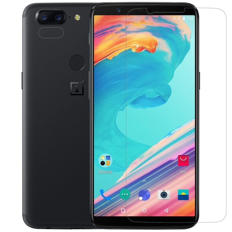Android Tempered Glass - Matte Anti-Fingerprint Screen Protector+Lens Protector For OnePlus 5T - Screen Protectors