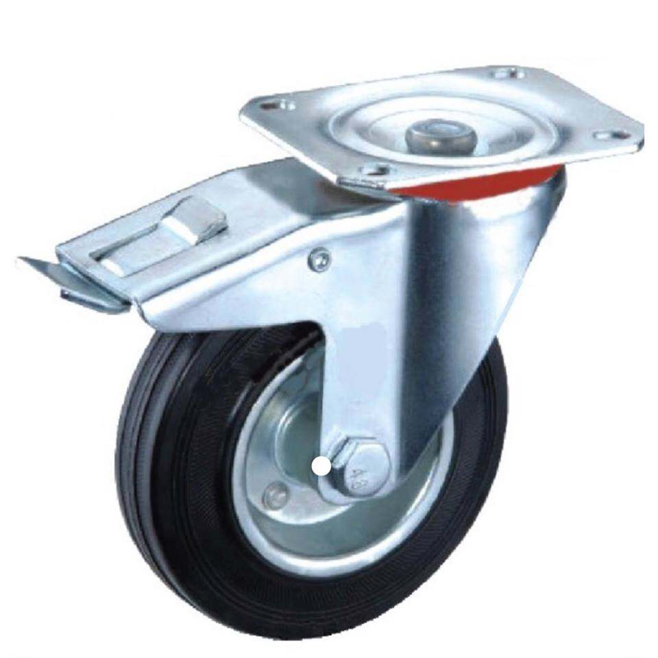 "4"" Black Rubber Wheel (Rigid) (Swivel) (Break) (Wheel)"