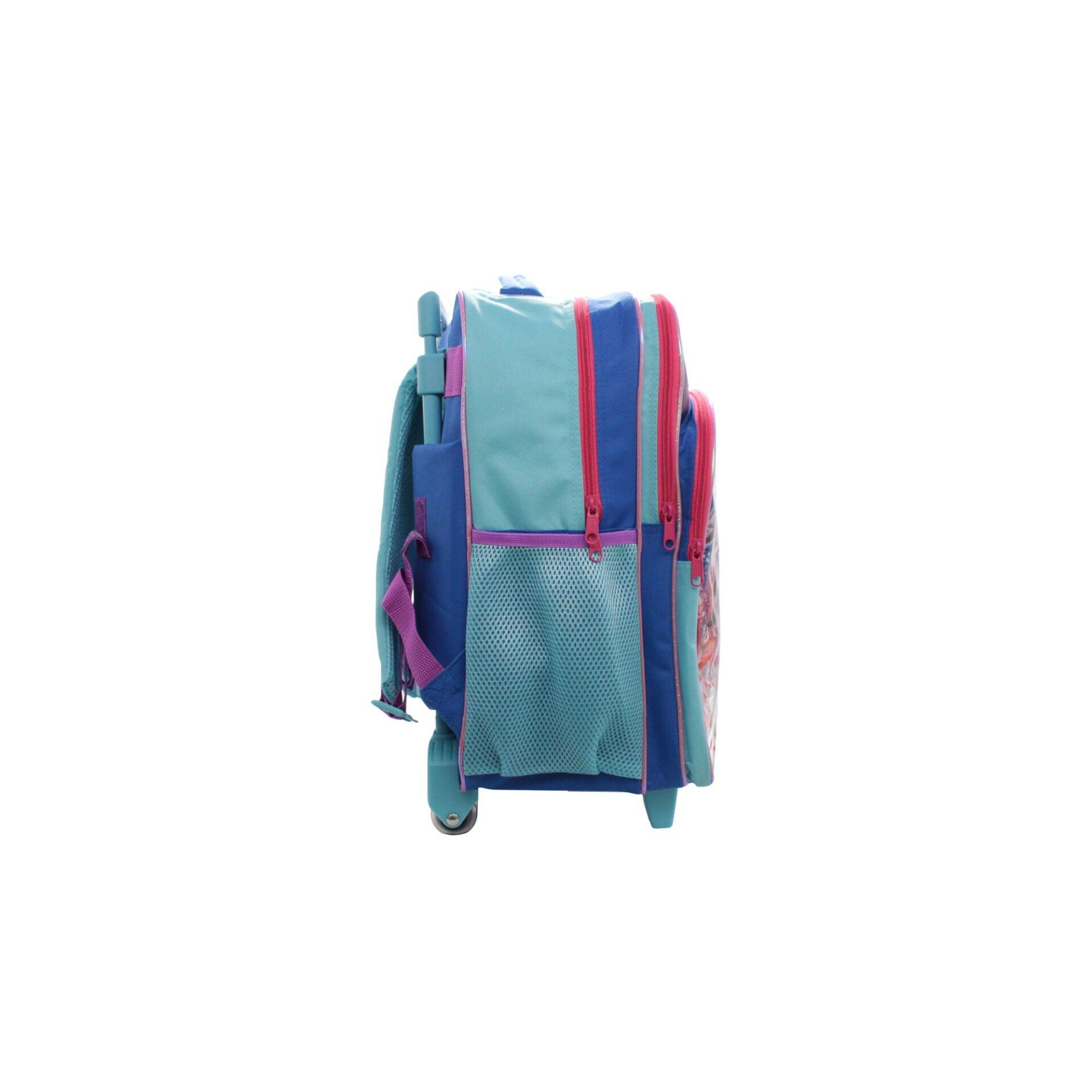 Disney Princess Frozen 2 Princess Elsa, Anna & Olaf Kids Girls Pre School Trolley Bag With 2 Wheels & Handle (Purple & Turqoise)