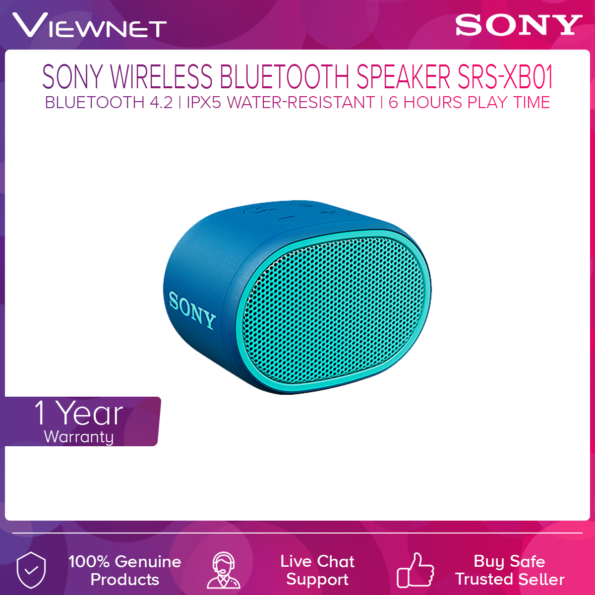 Sony SRS-XB01 Bluetooth 3.0 Extra Bass Portable Speaker (Black/Green/Blue/Red/White/Yellow)