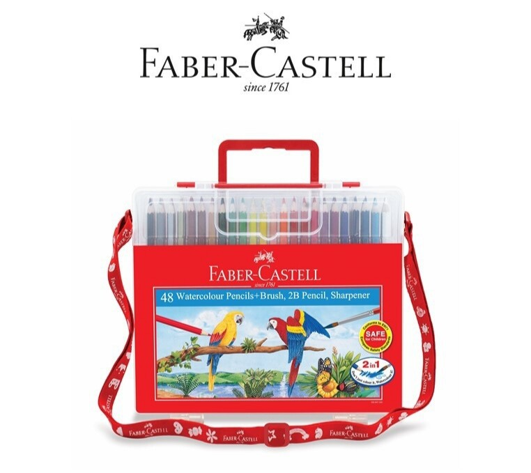 Faber-Castell 48 Watercolour Pencils + Brush + 2B Pencil + Sharpener