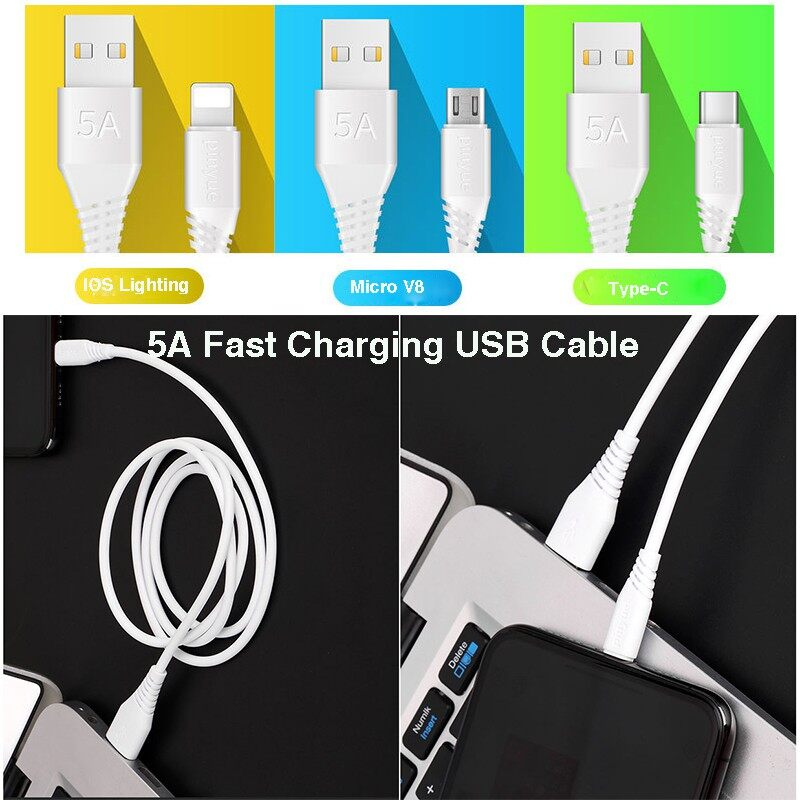 5A Fast Charging USB Cable for IOS Lighting/Micro V8/Type-C USB Charger - WHITE-IOS LIGHTING / WHITE-MICRO V8 CABLE / WHITE-TYPE-C CABLE