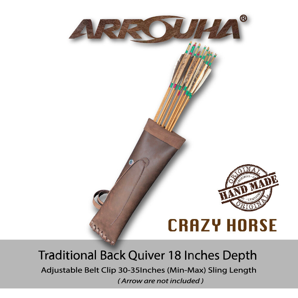 Arrouha Traditional Back Quiver Crazy Horse 18 Inches Depth Hold up to Dozen Arrows
