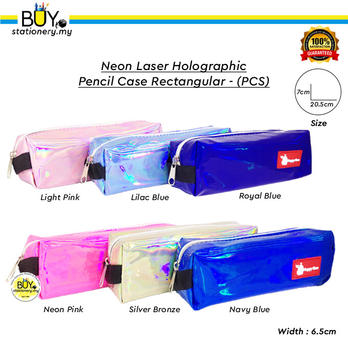 Neon Laser Holographic Pencil Case Rectangular - (PCS)