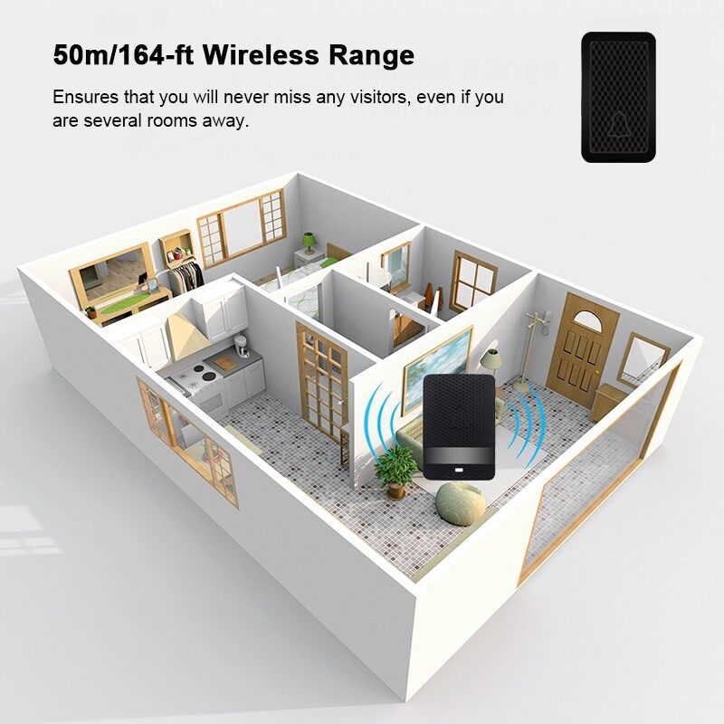 Mobile Cable & Chargers - WIRELESS Doorbell IP68 Waterpoof Door Bell Chime Operating at 164 Feet - US- / AU- / UK