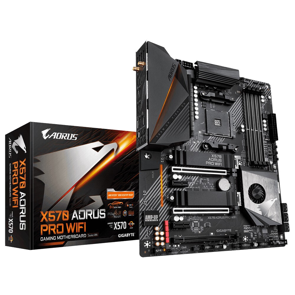 Gigabyte X570 AORUS PRO WIFI Mainboard, 12+2 Phases IR Digital VRM, Fins-Array Heatsink & Direct Touch Heatpipe, Dual PCIe 4.0 M.2 with Thermal Guards, Intel® WiFi 6 802.11ax, Intel® GbE LAN with cFosSpeed, USB Type-C, RGB Fusion 2.0