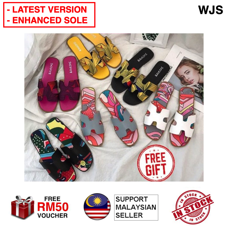 (ENHANCED SOLE) WJS Latest Version Holla Butterfly Sandal Holla Butterfly Shoe Sneaker New Style H Shaped Fashion Sandals - Slip On Beach Foot Slippers - Flat Shoes Sandal Wanita MULTICOLOR [FREE RM 50 VOUCHER]
