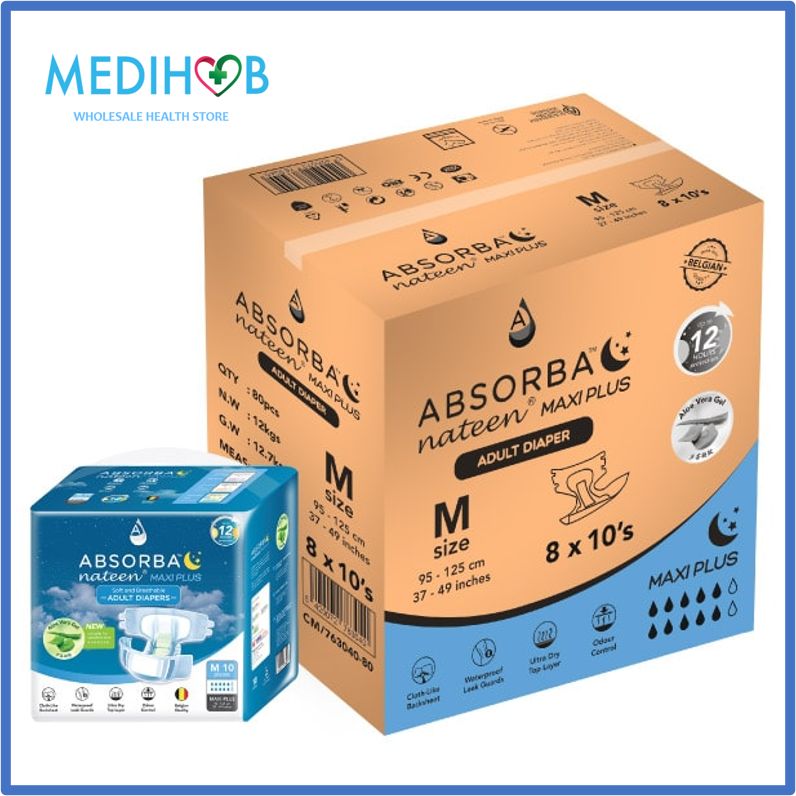 [Adult Diapers] Absorba Nateen Maxi Plus (M) 10s x 8 Bags [Super Savers Pack] - FREE UNDERPAD (10 Pcs)