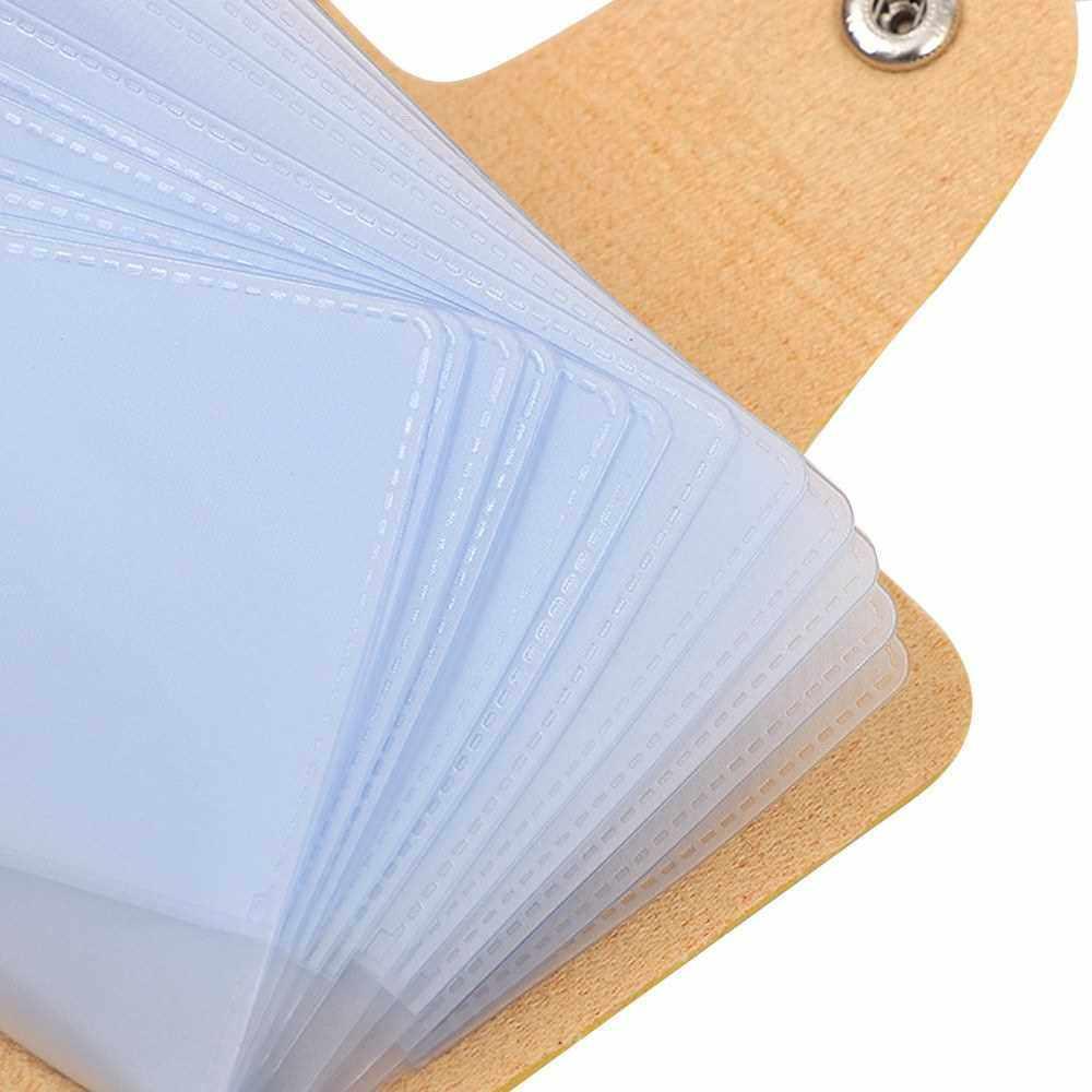 Fashion Women Men Card Holder Organizer 24 Card Slots PU Leather Business ID Credit Card Case (Yellow)