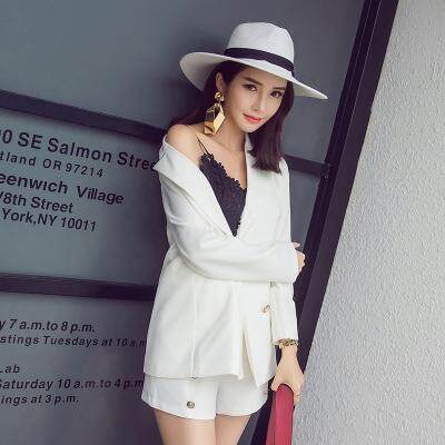 (Pre Order14 Days  JYS Fashion Korean Style Women Blazer +BottomSetCollection515-6155col515-6155--Pattern 1 White -S