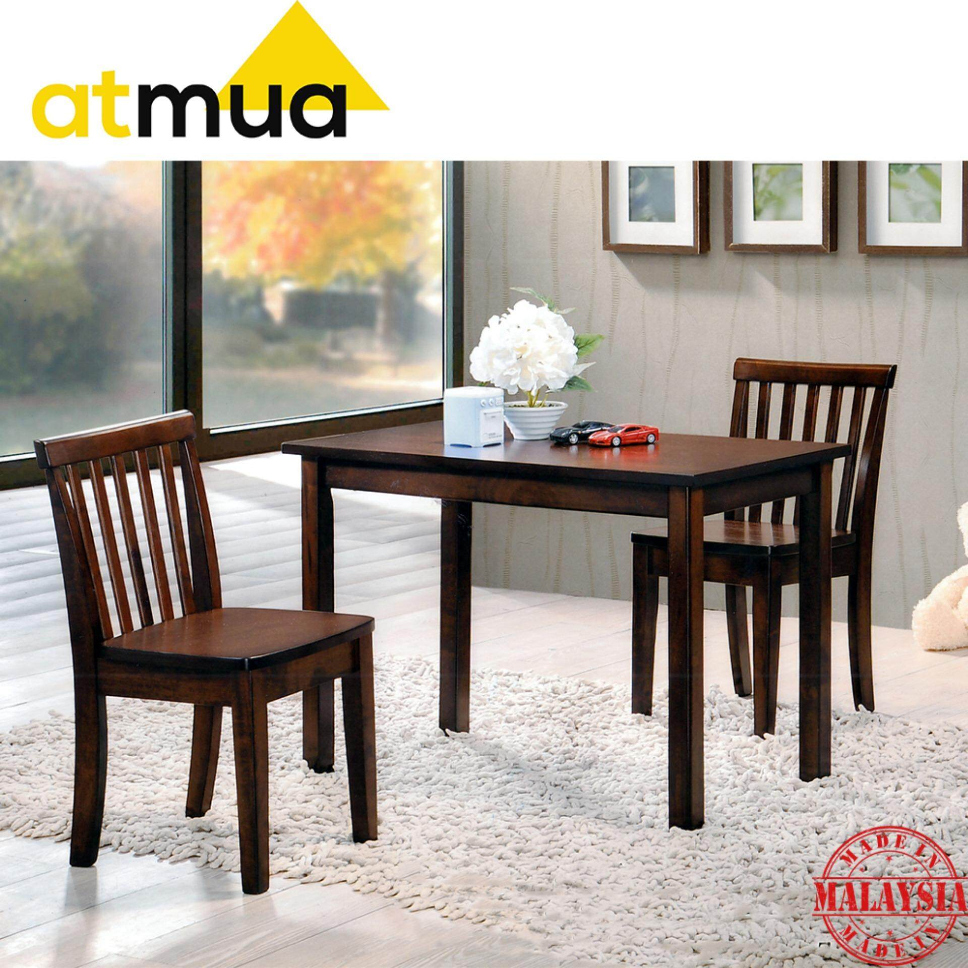 [PROMOTION] Atmua Mini Dining Set Kid Table and Chair - (1 Table + 2 Chair) [Full Solid Rubber Wood]