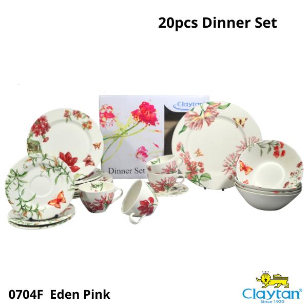ClaytanTablewareset- 20pcs Dinner Set - Eden Pink-Plate