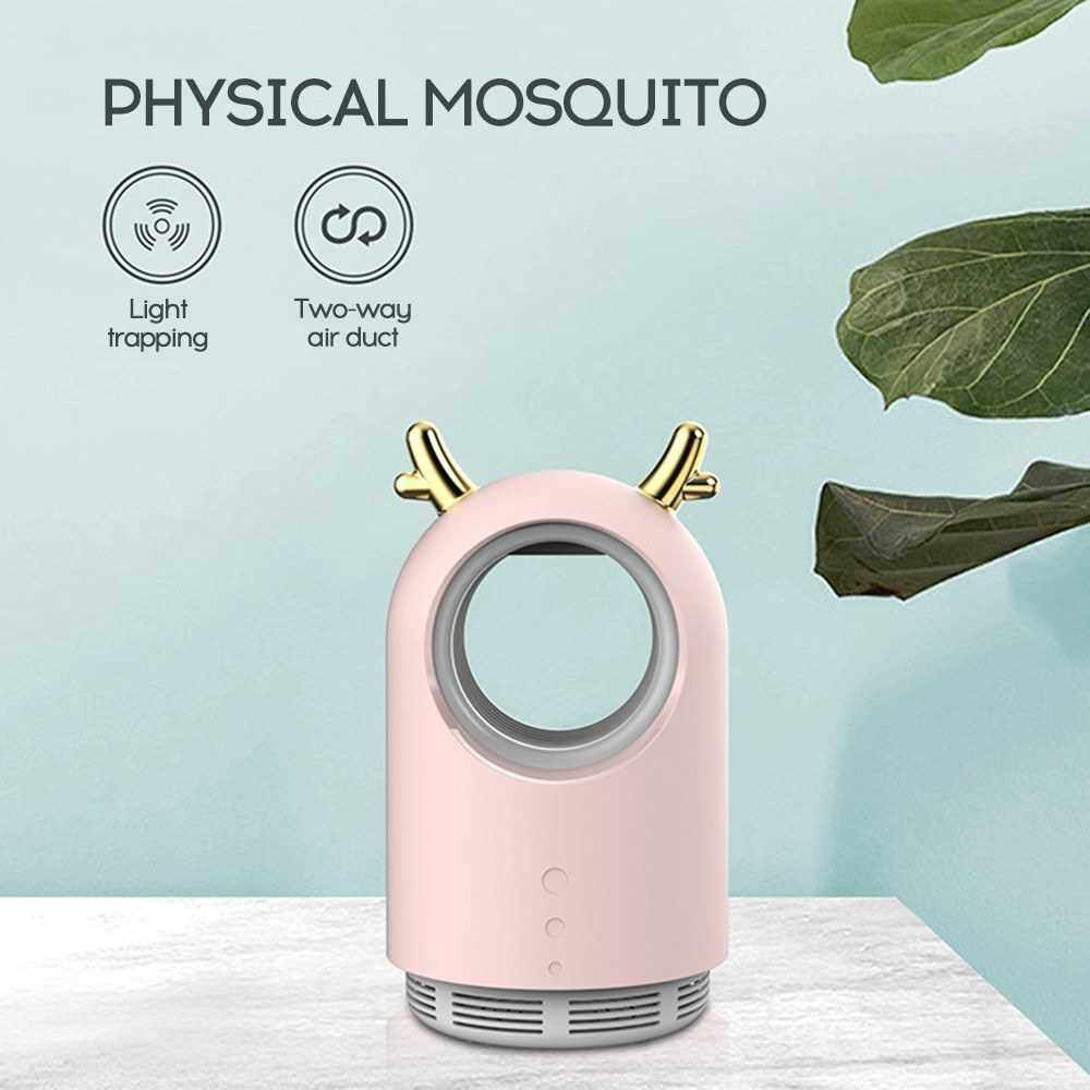 2020 New Style Deer Horn USB Photocatalyst Domestic Use Suction Way Insect Repeller Driving Device (White)