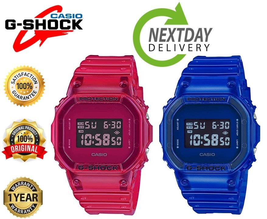 Leo Marketing 100%Original Casi0 G-SH0CK Jelly watch DW-5600BB sports watches digital display trend waterproof Red & Blue