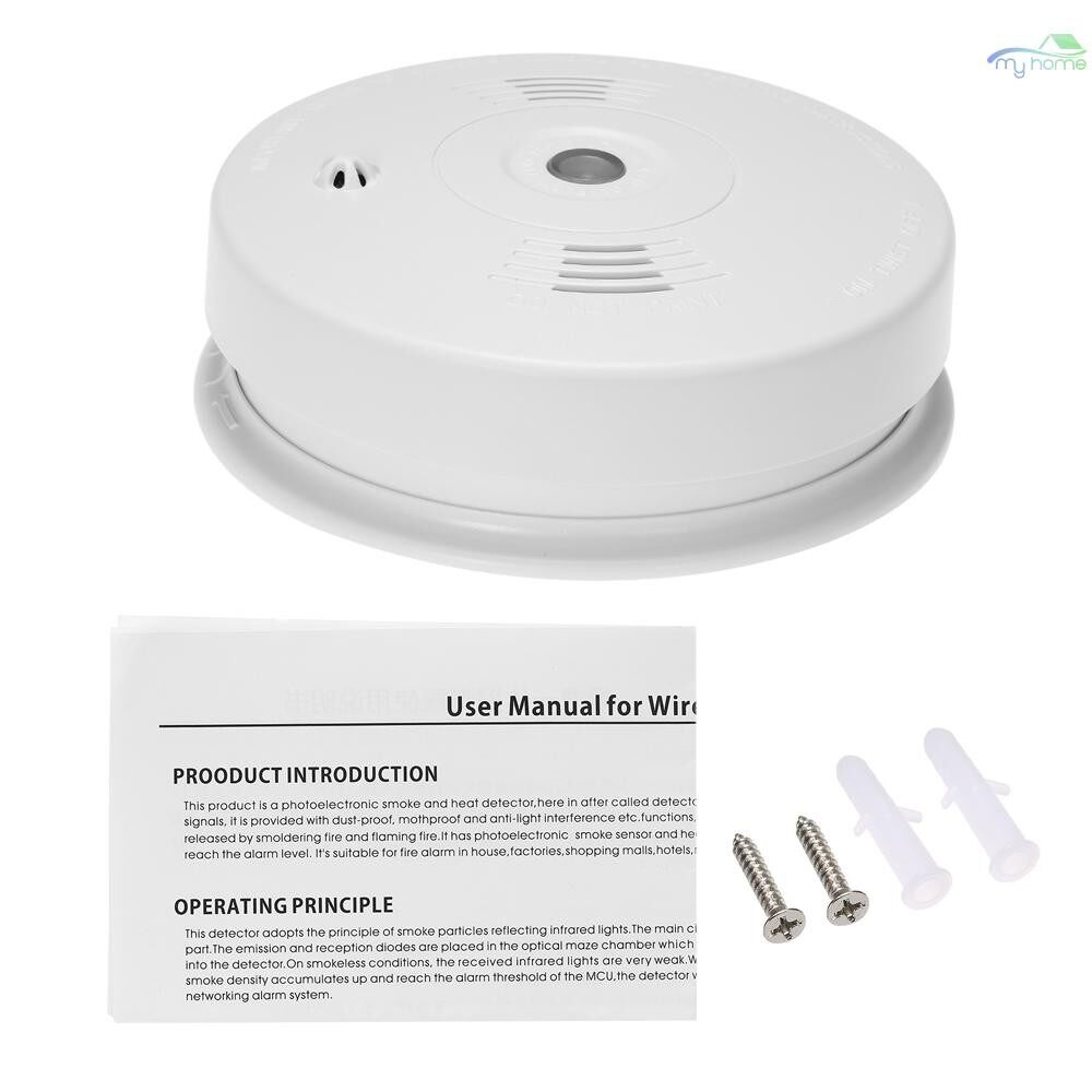 Sensors & Alarms - Wired Photoelectric Heat Detector High Sensitive Alarm Sensor Fire Alert Protection Anti Burning - WHITE