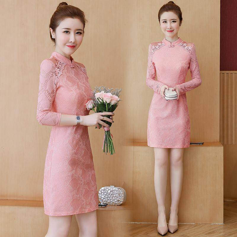 (Pre Order14 Days JYS Fashion Korean Style Women CNY Festive Red Cheongsam Collection-5261188col526-1188--Pink-Int:S