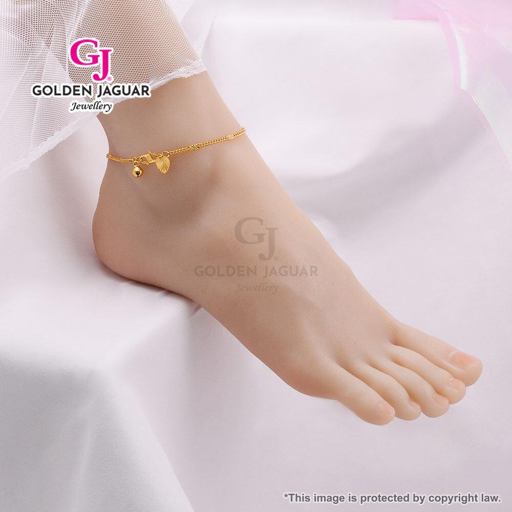 GJ Jewellery Emas Korea Woman Anklet - Gila-gila SS/Bebola Jubin/Jubin Papan/Papan Daun - Gelang Kaki (GA-10)