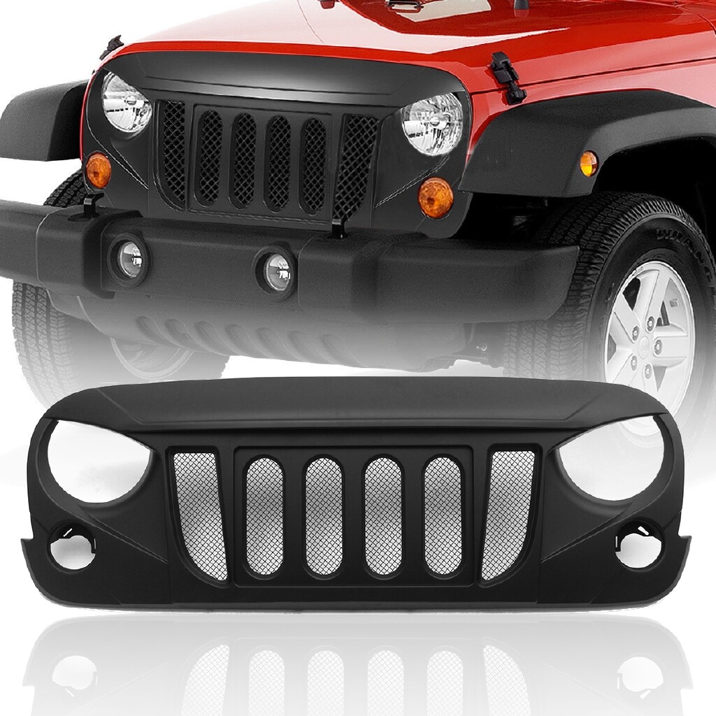 Automotive Tools & Equipment - Jeep Wrangler JK 07-17 Gloss Angry Skull 2 Front Package Mesh Grille Grid Grill - Car Replacement Parts