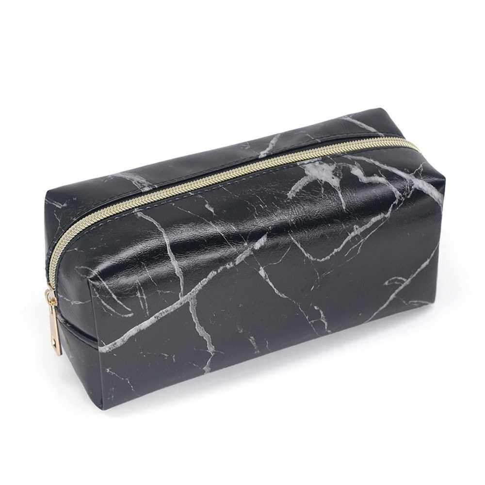 Marble Makeup Bag Portable Cosmetics Pouch Large Capacity Storage Case Travel Organizer (Black)