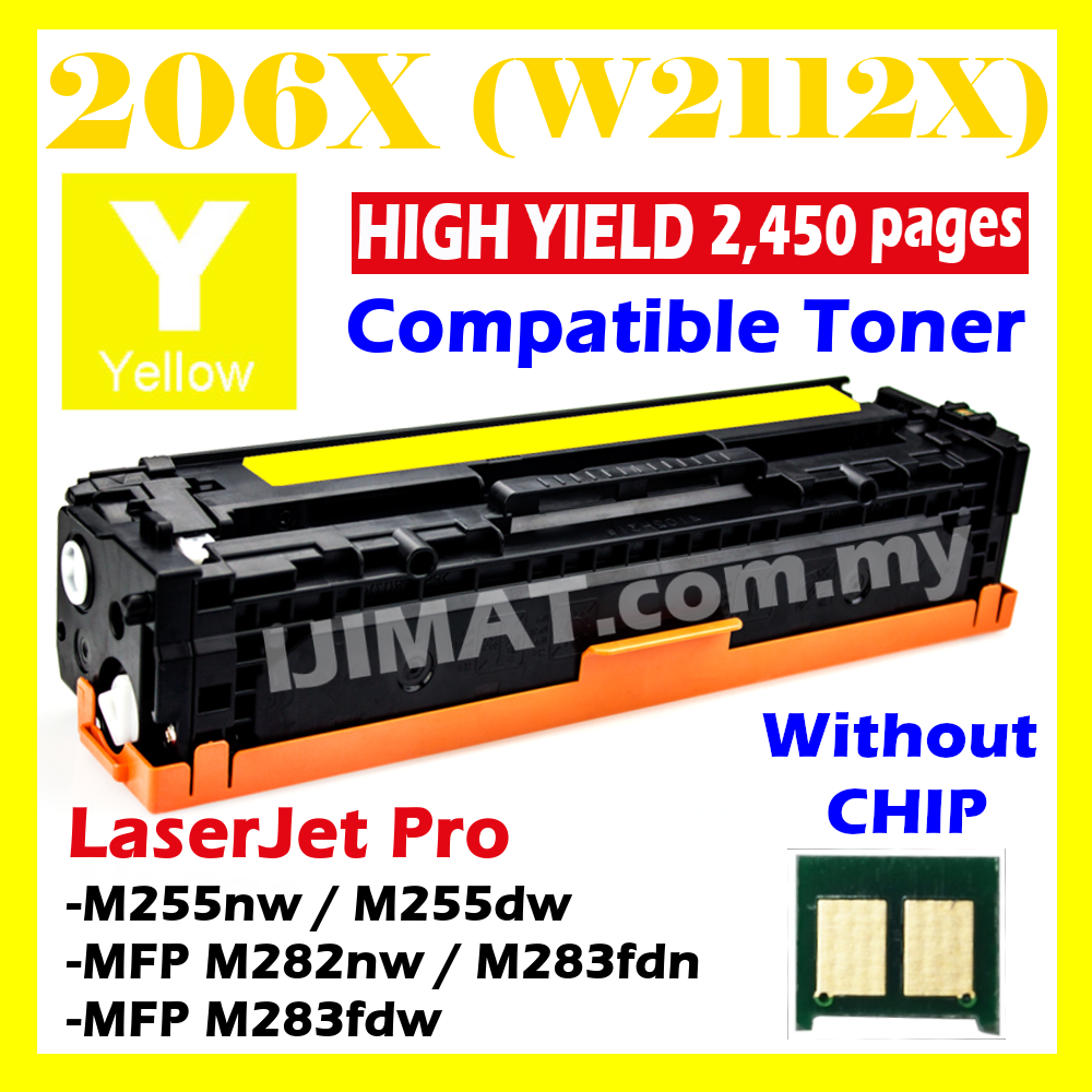 YELLOW Compatible Toner 206X W2110X W2111X W2112X W2113X Compatible With HP Color Laserjet Pro M255 M282 M283 MFP M282nw / MFP M283fdw / MFP M283fdn / M255dw / M255nw Printer Ink