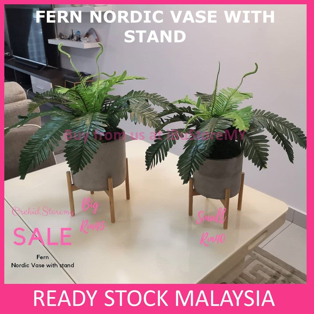 Gubahan Monstera Nordic Vase With Stand Gubahan Fern Artificial Plants Home Decor