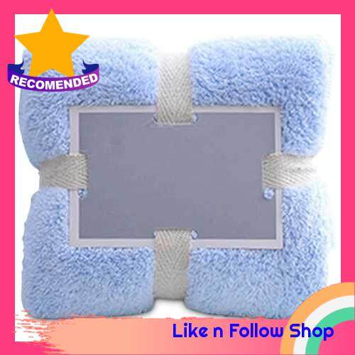 Soft Fluffy Towels Coral Fleece Bathroom Towels Salon Towels Water Absorbent Fast Drying Multipurpose Soft Lint Free Towels for Spa Hotels Home (Light Blue)