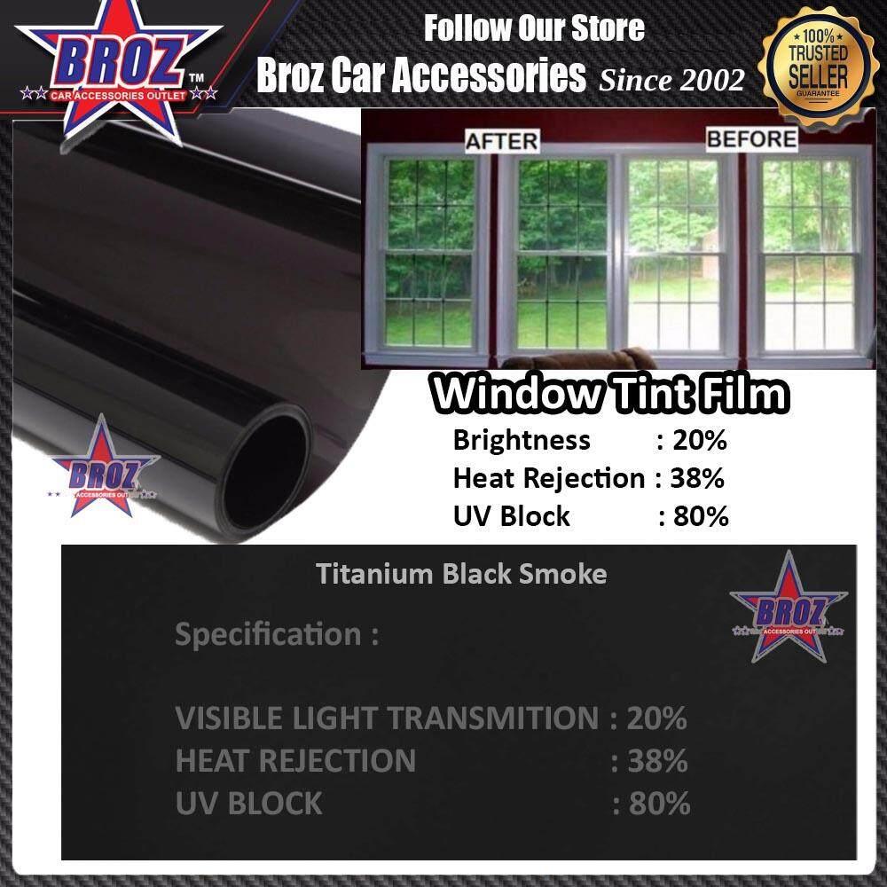 Broz (2ft x 4ft) Titanium Black Smoke 20% Solar Control Window Film Tint Film For Residencial Home Commercial Building Apartment Condo Door Window Windscreen