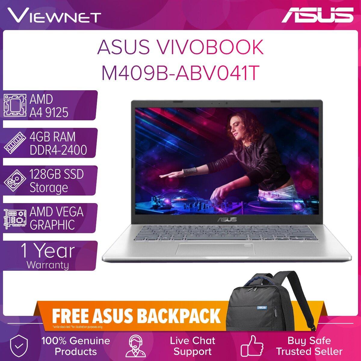 ASUS VIVOBOOK 14  M409B-ABV041T, M409B-ABV040T LAPTOP AMD A4 9125 4GB DDR4 128GB SSD AMD VEGA W10 14