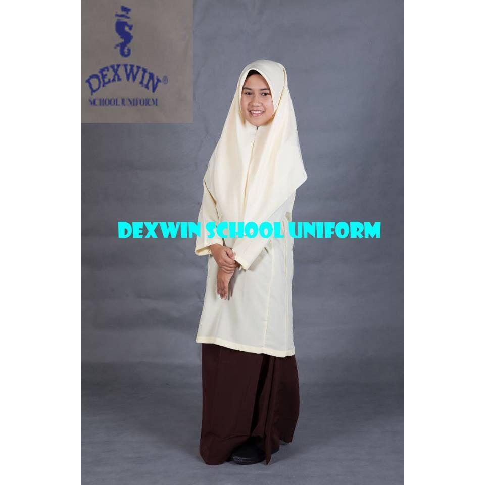 baju kurung beige pengawas kain licin koshibo pakaian sekolah MRSM MARA