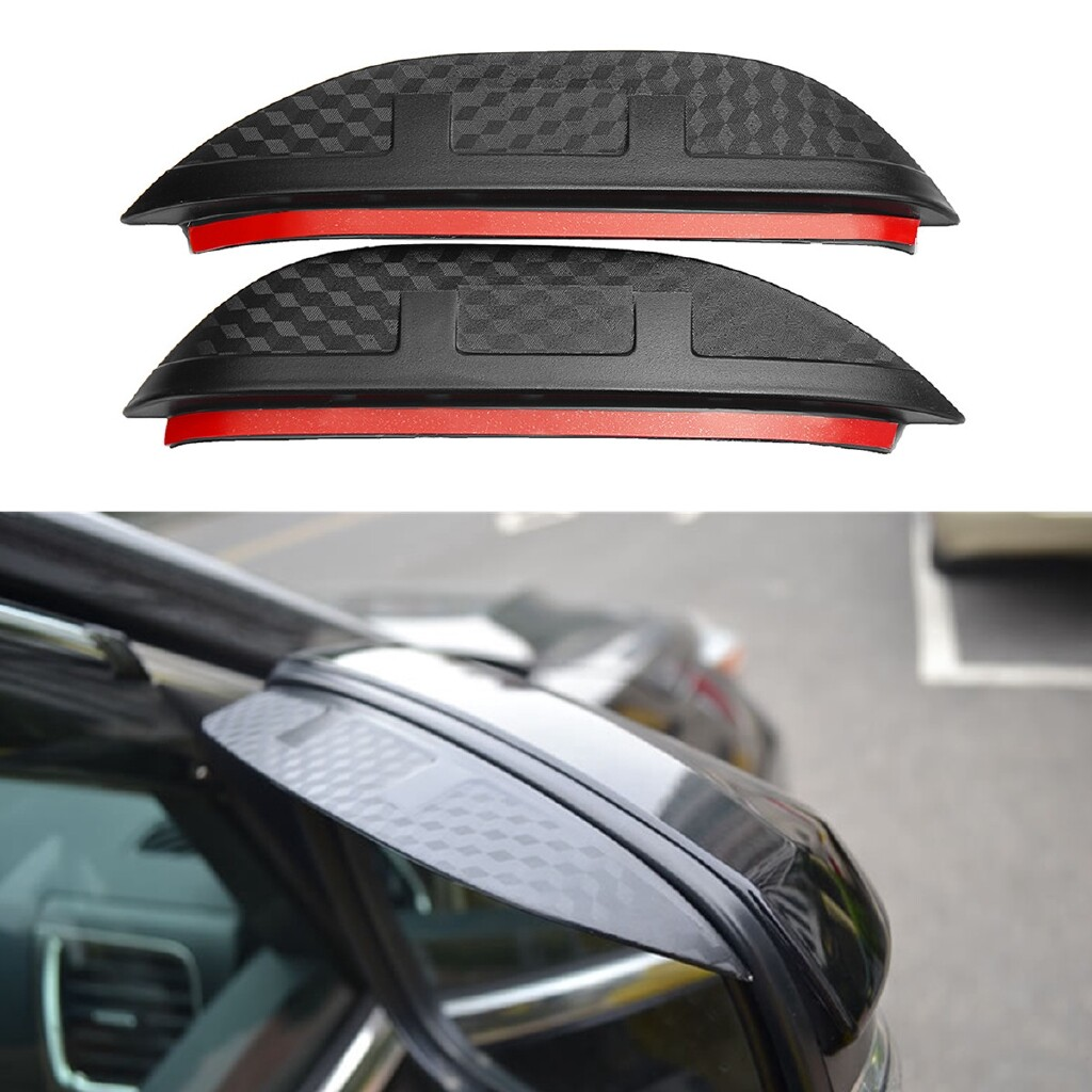 Windscreen Wipers & Windows - 2x Carbon Fiber Rear Mirror Visor Shade Shield Rain Eyebrow Guard - Car Replacement Parts
